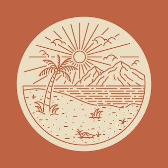 Summer beach sea line  patch pin  illustration