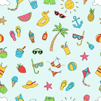 Summer beach seamless patter vector design