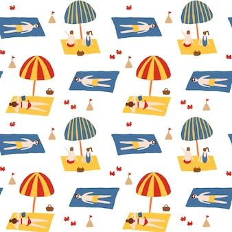 Summer beach seamless pattern background