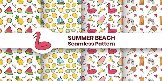 여름 해변 원활한 패턴 컬렉션
