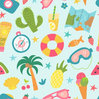 Summer beach set of elements cactus palm tree pineapple ice cream recreation and tourism