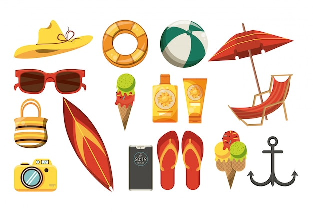 Summer and beach set of elements