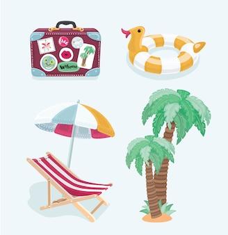 夏のビーチ、アイコンのセット