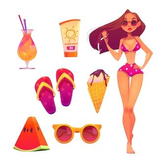 Set da spiaggia estiva con donna in bikini