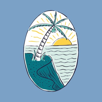 Summer beach and sunset badge patch