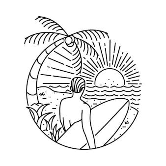 Summer beach surfing line  illustration
