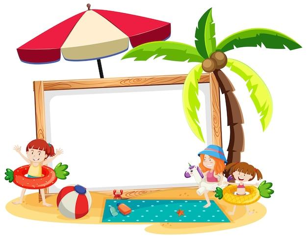 白い背景で隔離の空白のバナーと夏のビーチのテーマ