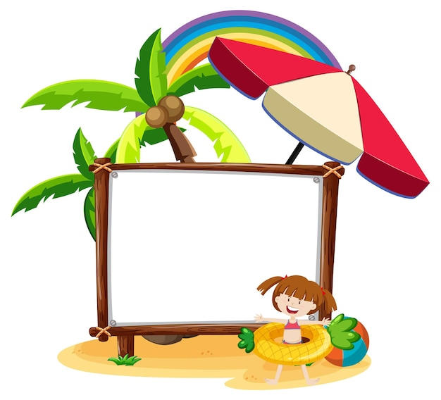 Summer beach theme with blank banner isolated on white background