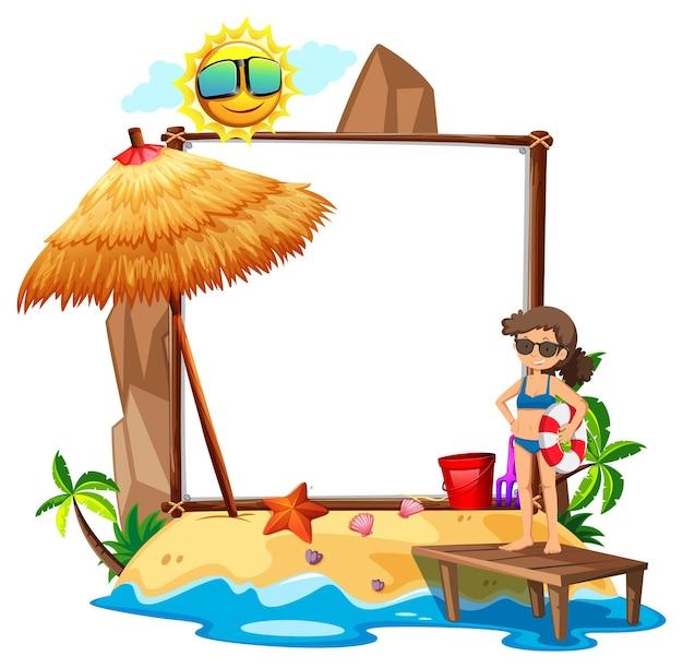 Tema della spiaggia estiva con banner bianco isolato su sfondo bianco