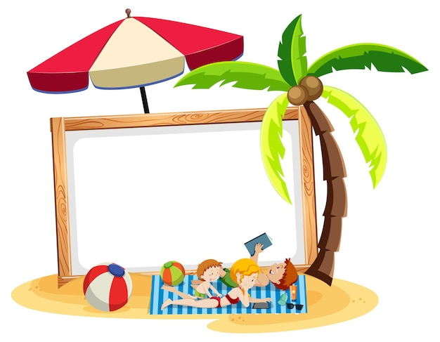 Tema della spiaggia estiva con banner bianco isolato su bianco Vettore gratuito