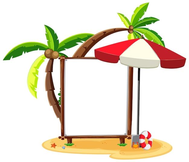흰색 배경에 고립 된 빈 배너와 함께 여름 해변 테마