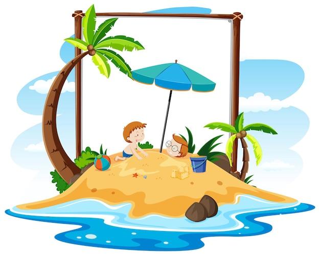 Летняя пляжная тема с пустым баннером на белом фоне