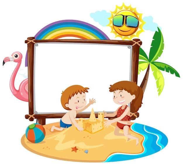 Летняя пляжная тема с пустым баннером, изолированным на белом