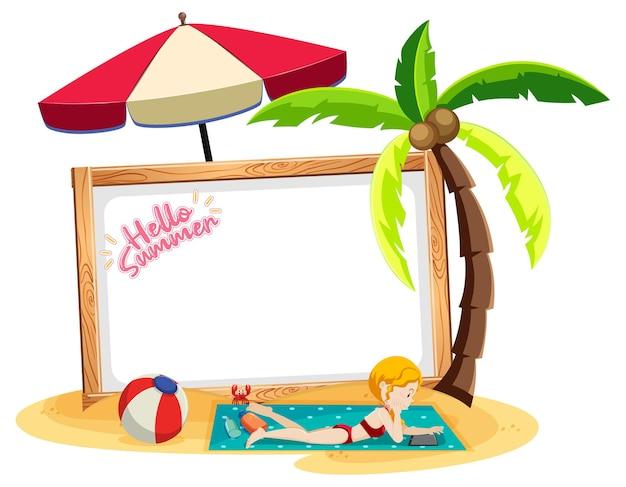 Tema summer beach con banner vuoto isolato su sfondo bianco