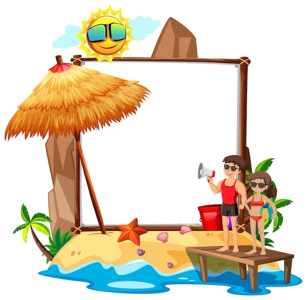 Summer beach theme with empty banner isolated on white background