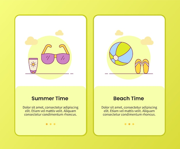 Summer beach time campaign for onboarding mobile apps application banner template