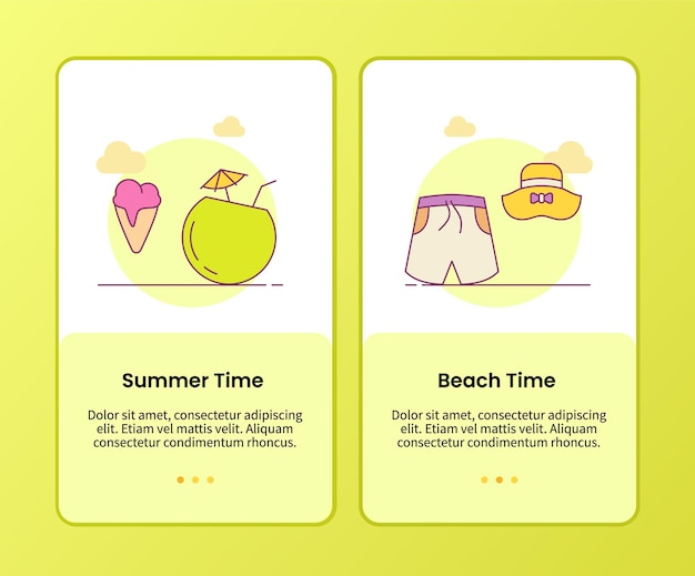 Summer beach time campaign for onboarding mobile apps application template