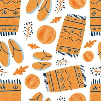 夏のビーチタオルシームレスパターン。手描き漫画スカンジナビアの北欧デザイン