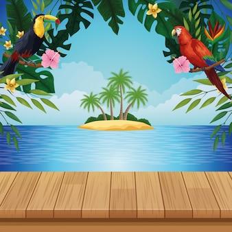 Summer beach and travel cartoons background
