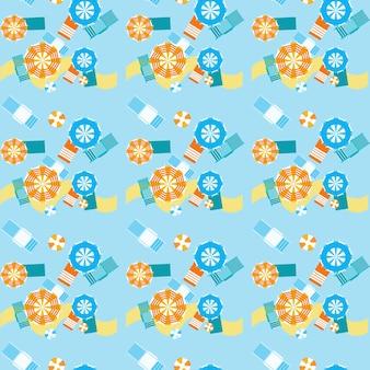 Summer beach umbrellas seamless pattern vector illustration