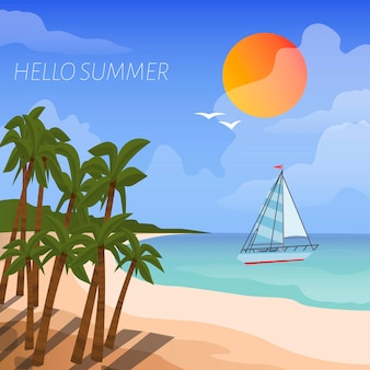 Summer beach vacation   cartoon style poster. background sea shore boat in the sea, sun and tropical palm trees.