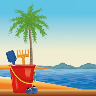 Summer beach and vacation cartoon