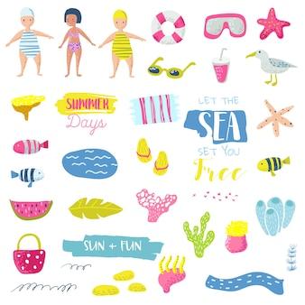 サマービーチバケーション幼稚な要素セット