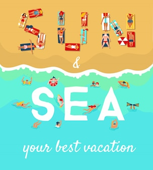 Summer beach vacation flat poster