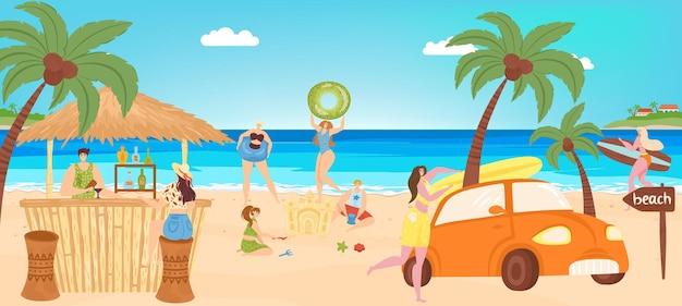 Summer beach vacation at sea vector illustration holiday travel activity at ocean shore flat man wom...