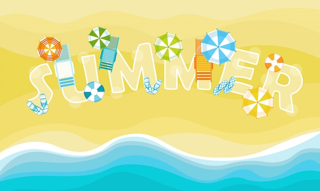 Summer beach vacation set sand tropical holiday banner