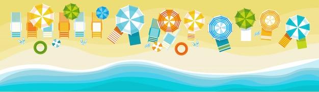 Summer beach vacation set sand tropical holiday banner
