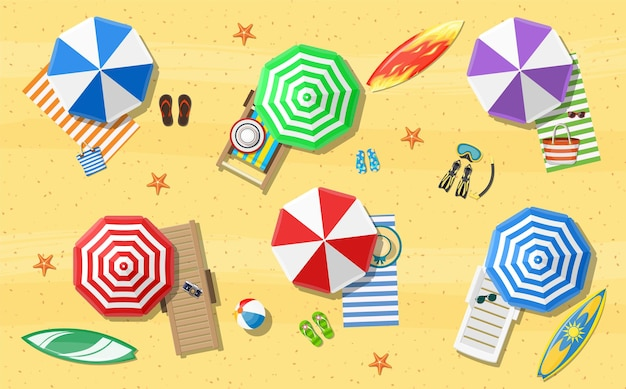 Summer beach vacation sunbed with umbrella
