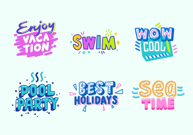 여름 해변 휴가 열 대 배너 디자인 모음. 파라다이스 풀 파티 타이포그래피 포스터 템플릿. 최고의 바다 시간 이벤트 플랫 만화 벡터 일러스트 레이션을위한 마케팅 광고 배지