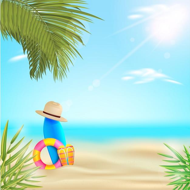 夏のビーチのベクターデザイン。夏の背景
