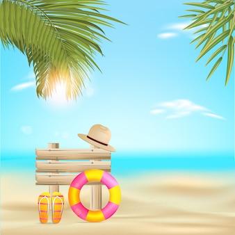 夏のビーチのベクターデザイン。ビーチホリデーの夏のベクトル図