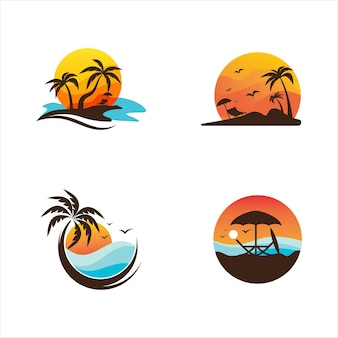 Summer beach vector icon design illustration template