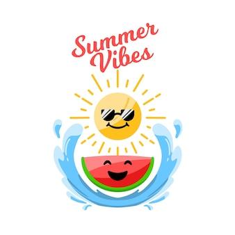 여름 해변 수박, 파도, 태양 귀여운 만화