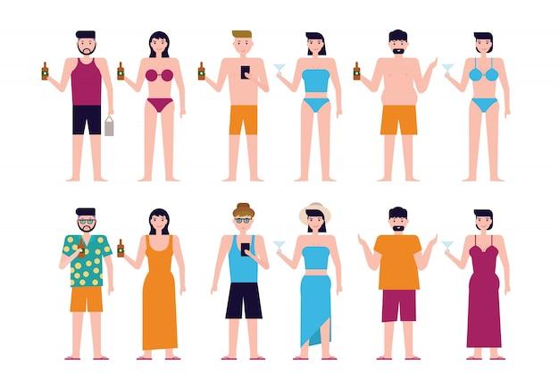 Summer beach white people