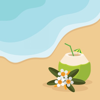 Summer beach with cocktail