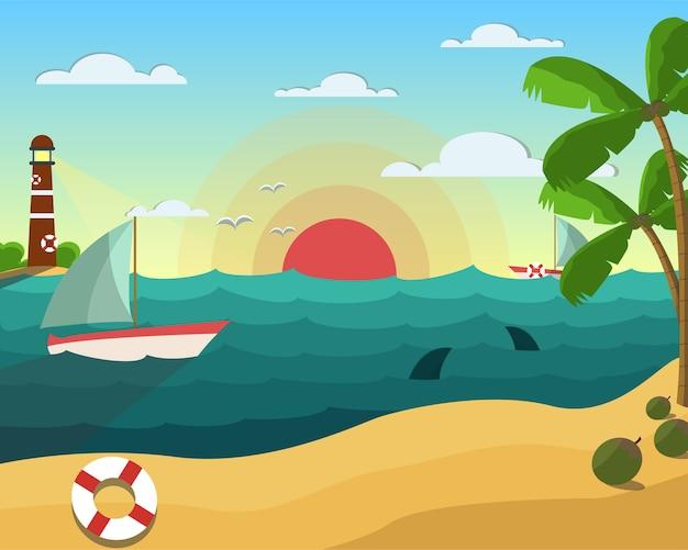 코코넛 배 조류 상어와 일몰 배경에 등 대 여름 해변
