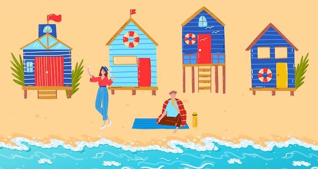 Летний пляж с семейной векторной иллюстрацией плоский мужчина женщина персонаж путешествия возле моря отдых на берегу тропического океана с домом на сваях