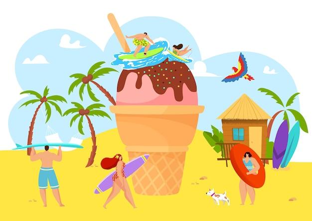 Летний пляж с людьми