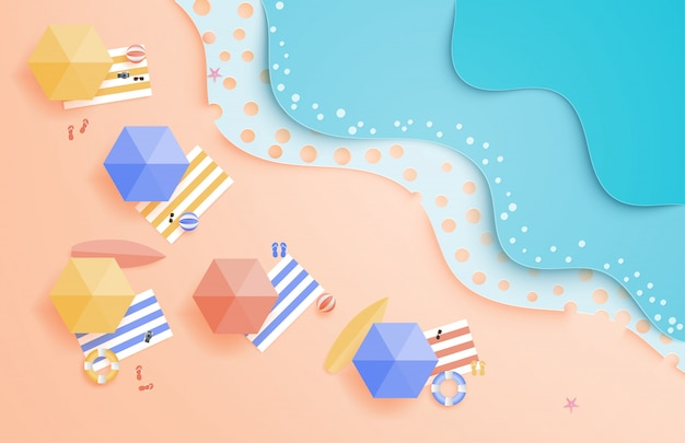 Summer beach with umbrella, balls, swim ring, sunglasses, surfboard, and sandal, sea wave in paper cut style from aerial view.