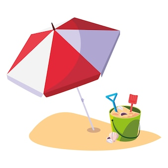 Summer beach with umbrella and sand bucket toys