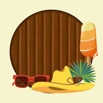 Summer and beach wooden round frame background with copyspace