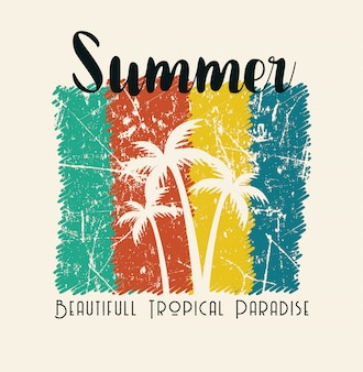 Summer beautiful tropical paradise illustration