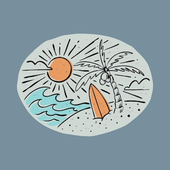 Summer and beauty sunset with surfboard graphic illustration vector art t-shirt design