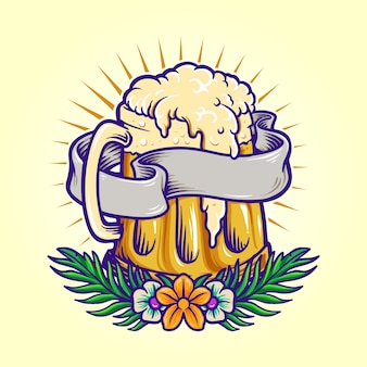 Summer beer party with flowers illustrations