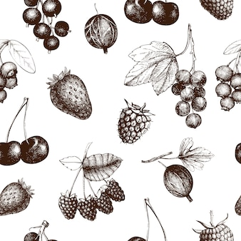 Summer berry seamless pattern. hand drawn berries background. with fresh fruit: strawberry, cranberry, currant, cherry, bilberry, raspberry, blueberry. for recipe, menu, banner, tea or jam design.