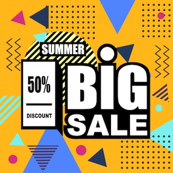Summer big sale abstract memphis style web banner.